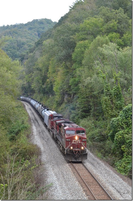 K446-11 passes under the Town Branch bridge at Prestonsburg KY. CP 8603-9677.