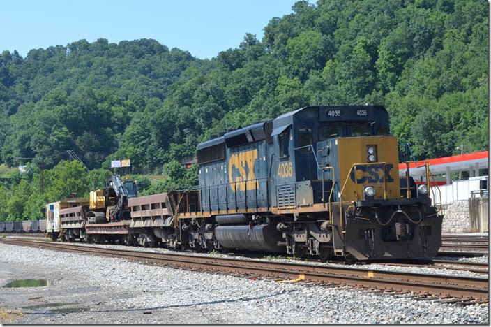 CSX 4036 work train parked in Danville WV yard. 06-24-2018.