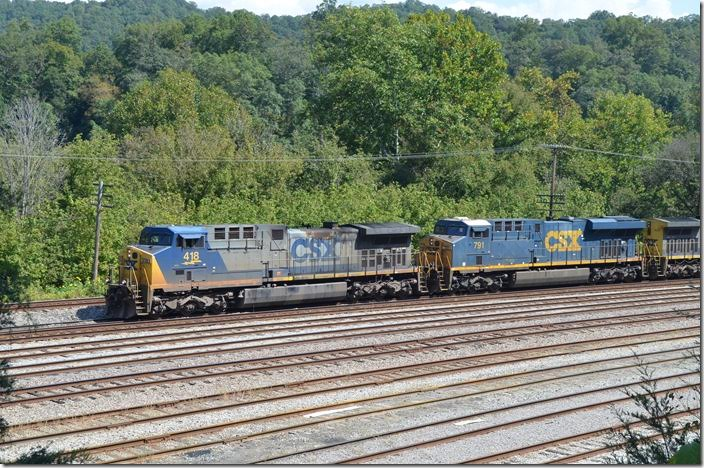 CSX 418-791-428 pulls into #1 yard track with 100 loads from McClure Mine in Virginia. 09-16-2017. Shelby.