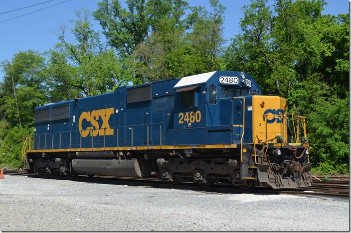 CSX SD50 no. 2480 parked on the ready track shut down.