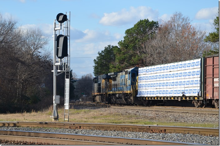 CSX 5457-7550 on F704-07, the Monroe Switcher (Monroe-Polkton and return) switches at the south or west end of the yard. Monroe NC.