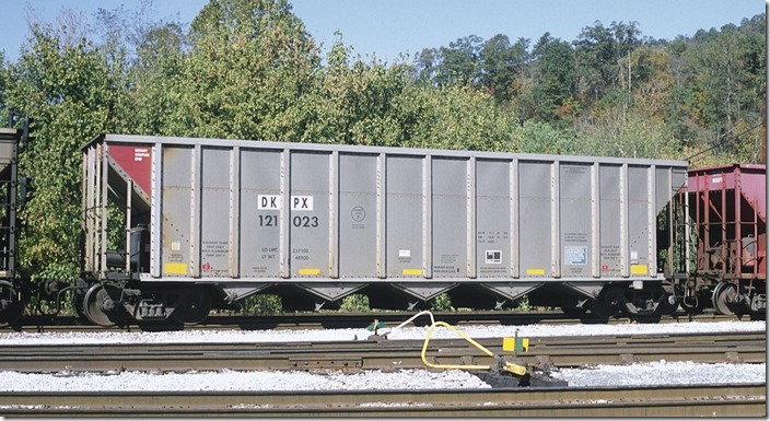 "DKPX 121023 is ex-ADLX, nee-BNBX. 237,100; 4200. Freight Car America. As you can see Duke has acquired a bunch of ""used"" aluminum cars to augment their fleet."