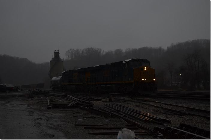 CSX 3148-853 is switching at Raleigh Yard near Beckley. This downpour came just as I arrived. I got wet, but the poor conductor got drenched!
