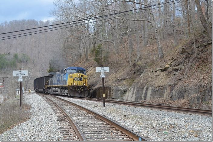 CSX 13 on H840 has departed Danville Yard and is heading up the Pond Fork SD at Pond Junction with 150 empty tubs for Patriot Coal's Rocklick mine.