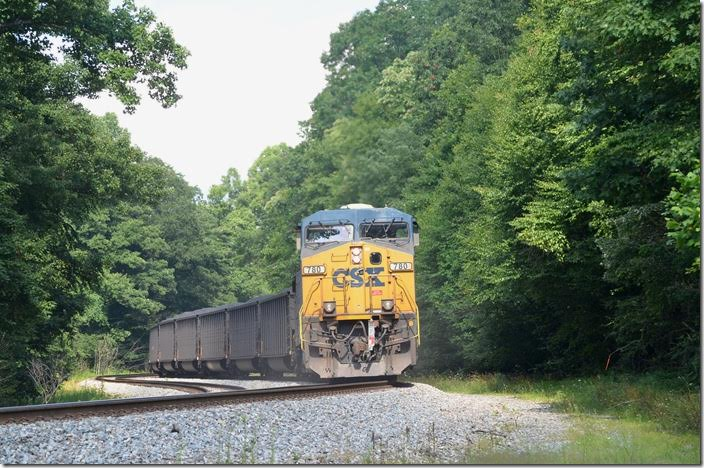 Four GE ACs can move a 77-car drag pretty good up a steep grade such as this. It is around 2.00% between Newburg and West End. CSX pusher 780-3254. Austen WV.