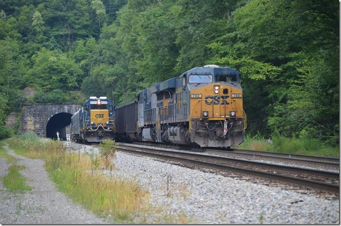 I knew T051 would be meeting a westbound at Blaser or Tunnelton, but I expected an empty coal train! CSX 780 6025 West End WV.