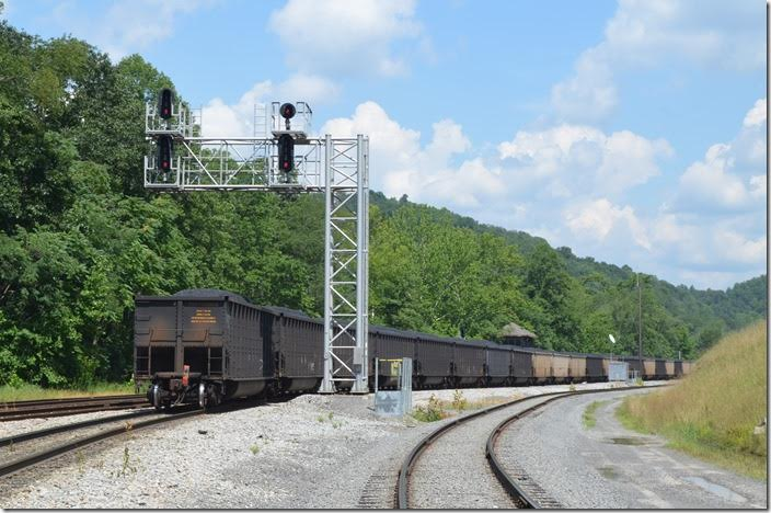 New signals at GN. The siding to Arch Coal's new Leer Mine is on the right. CSX 719 E. Grafton WV.