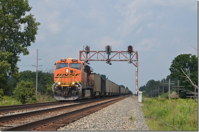 Next comes BNSF 6112 on empty train N912-13 . View 2.