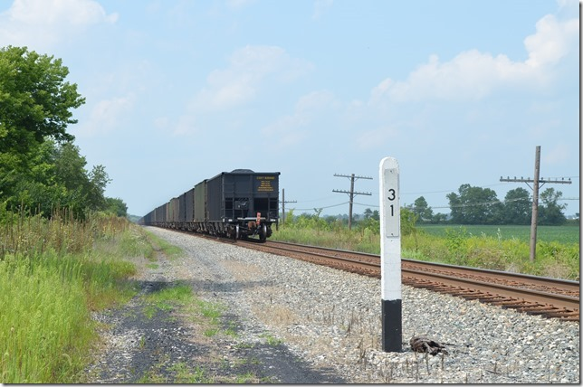 Metallurgical coal in CSX and a few HLCX hoppers. View 2.