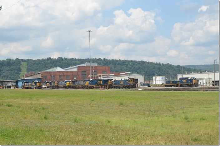 The east side of the locomotive shop. The tan metal building at the far right is the servicing facility. CSX diesel shop. Cumberland MD.