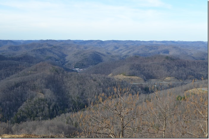 View off US 119 from the top of Pine Mt. looking toward Whitesburg in the valley.