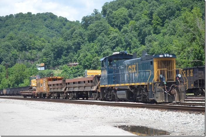 CSX MP15 1140 has a work train parked at Danville WV yard on 07-09-2017.