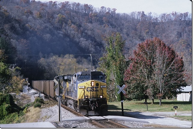 CSX 167-217 heads shifter C881 (Martin-Shelby Shifter) with 98 GACX loads at Titan Siding (Island Creek Road) near Pikeville.