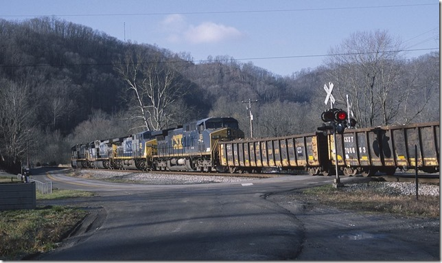 CSX 498 leads a 62-car Q697-13 westbound at Boldman. View 2.