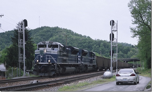 Passing the crossovers at Beaver Jct. at Dwale, Ky.