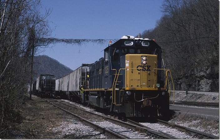 A NS coal train is parked in Alloy Yard awaiting a crew to go east to Elmore. view 2.