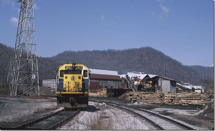 U. S. Rail GP49 no. 2803 is used by Periama Handling LLC at the rail-to-barge transfer behind the metals plant.