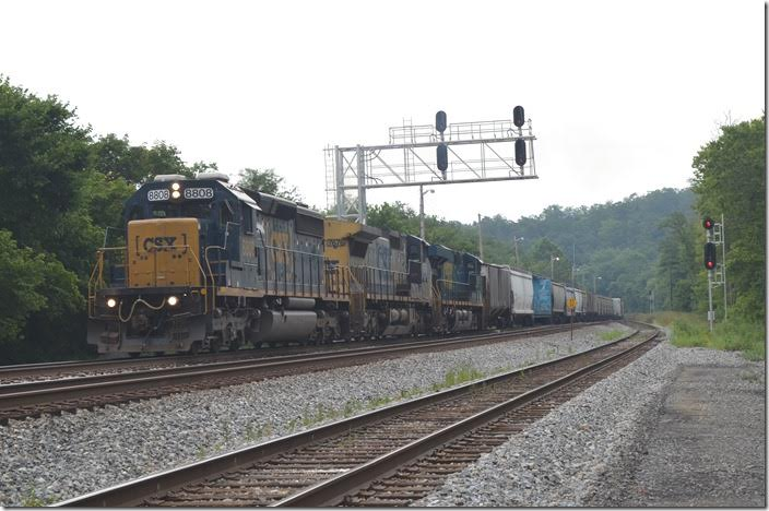 CSX 8808-7676-5335 have 70 cars of D720-28, the Hagerstown-Cumberland local. Green Spring WV.
