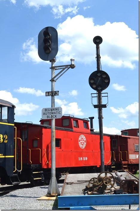 Examples of a WM block signal and a B&O color position-light CTC signal. WM cab 1859. Hagerstown MD.