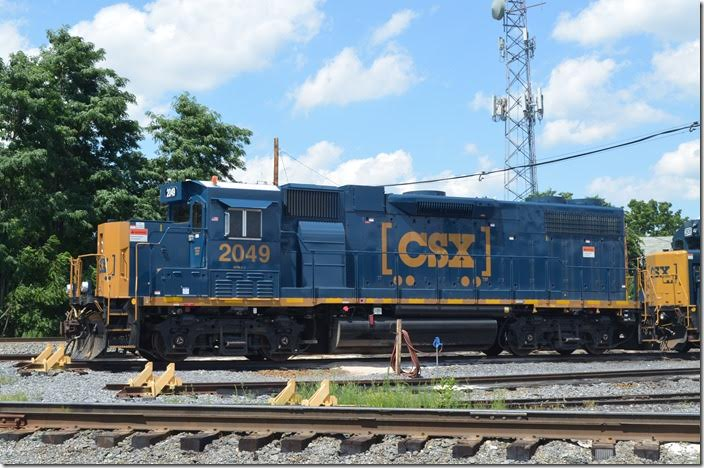 CSX 2049 is ex-GP38-2 2554. CSX GP38-3 2053 off to the right. Hagerstown MD.