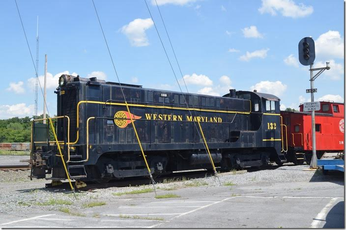 WM Baldwin VO-1000 132 was acquired during WWII. Western Maryland's steam switcher fleet consisted of 0-6-0s and a few 0-8-0s that had been 2-8-0s in their early life. Older 2-8-0s handled the remaining switch jobs. WM reconfigured their old 2-6-6-2s to 0-6-6-0 switchers. WM acquired several early BLW and ALCo switchers to augment these obsolete steamers. WM VO-1000 132. Hagerstown MD.