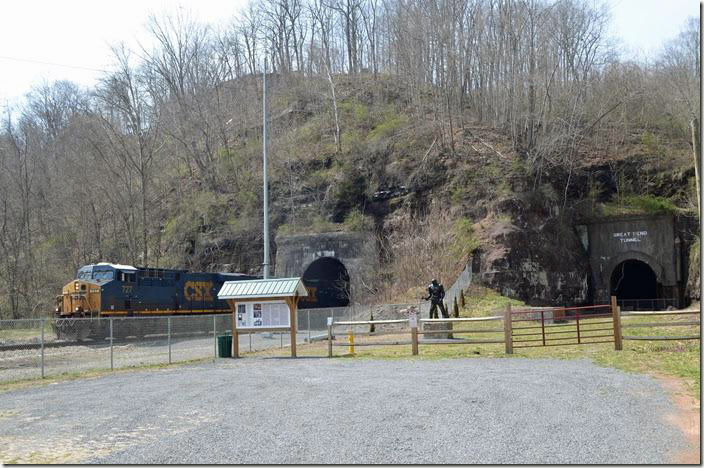 CSX 727-781-5103 hustles out of Big Bend Tunnel (completed in the 1930s) beside the historic Great Bend Tunnel of the legendary John Henry fame. T402-21 has 110 DKPX (Duke Energy) loads for one of their power plants. Talcott WV.