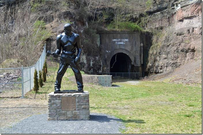 The statue of legendary John Henry was moved from the side of the state highway down to the park. Talcott WV.
