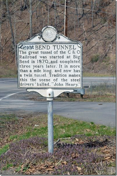 Up beside the state highway, this is the original location of the John Henry statue. Great Bend Tunnel marker. Talcott WV.