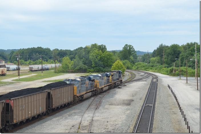 V547-30 heads toward RJ Cabin where it will enter the main line. CSX 282-739-3014. View 4. Russell.