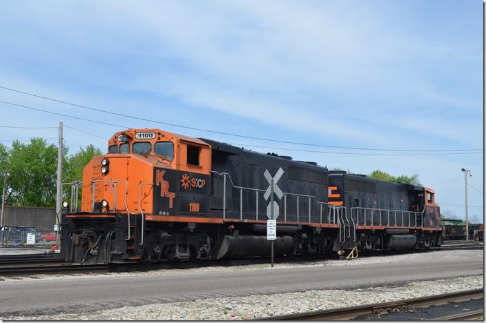 Kanawha River Terminals (SunCoke Energy) wide-cab GP40s 1100-1200 wait at the Ceredo trans-loader. 04-18-2015.