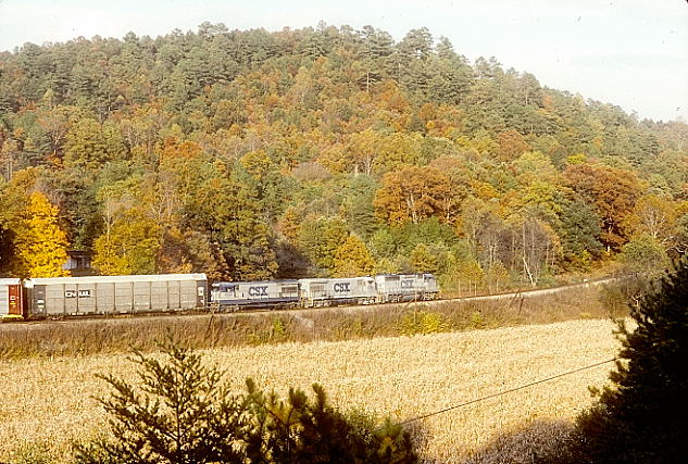 Hazel. CSX 6107-5750-5732 head southbound multi-level train R215 at Hazel Patch on 10-21-90. View 2.