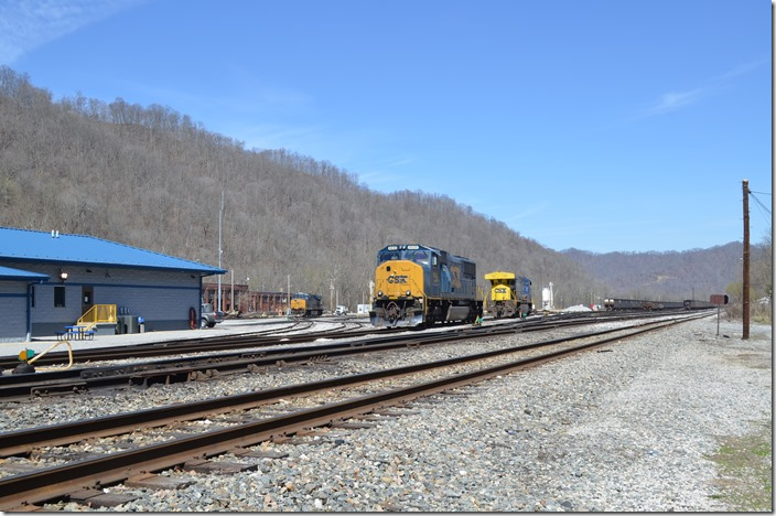 CSX 4535, 655 and 971 are shut down near the new Peach Creek yard office. The yardmaster here will also soon control Shelby, Martin, and Paintsville in addition to Danville and Elk Run Jct. Peach Creek.