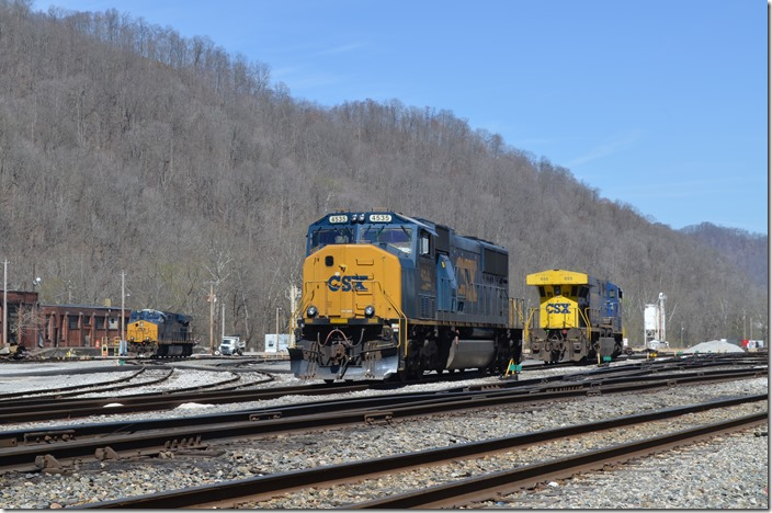 My guess is that the old store room and machine shop will soon be demolished. CSX 4535, 655, and 971. Peach Creek.