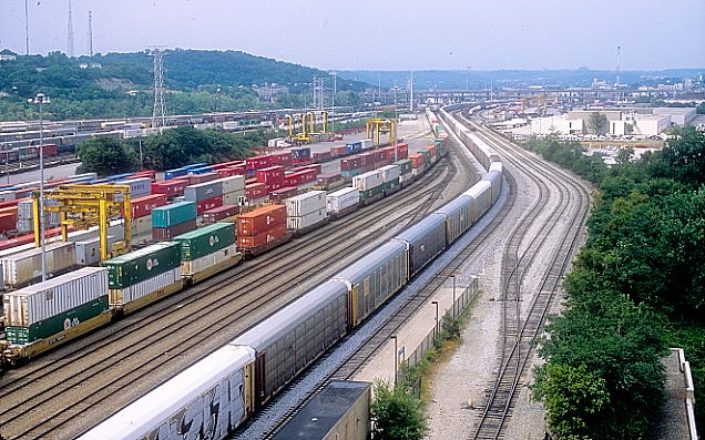 Looking northwest at the NS intermodal terminal on left.