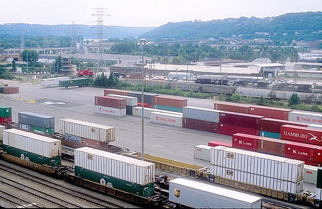 Looking southwest at NS intermodal yard, DI Tower and yard office.