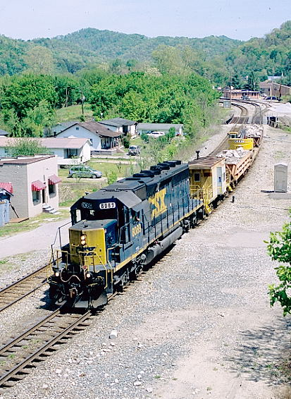 CSX SD40-2 8089 leaves Shelby with a w/b work train.