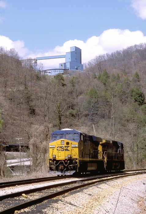 772-137 roll down the main with Premier Elkhorn's preparation plant on the hill in the background.
