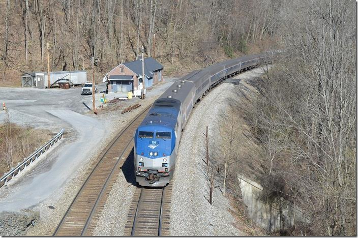 Amtrack engine 198 has No. 50 and 8 cars at 10:13 AM passing the old C&O depot at Cotton Hill.