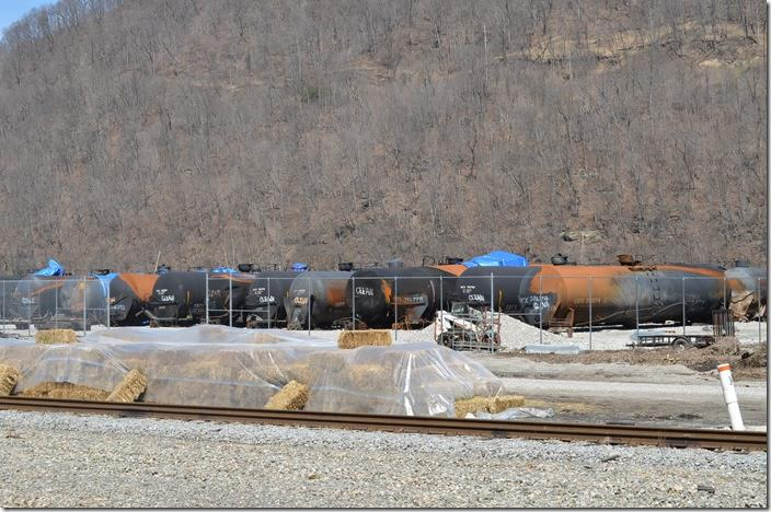 CSX tank cars damaged from the oil train derailment and explosion at Mount Carbon. Handley.