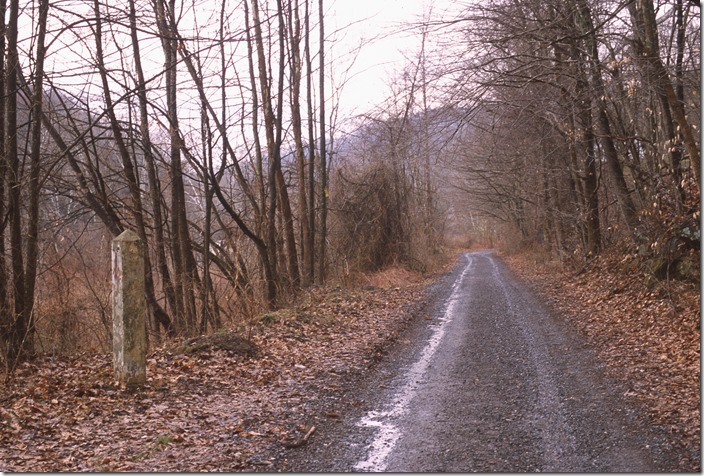 First we drive drove up the hollow at Ansted to explore the abandoned roadbed of C&O's Ansted Branch.