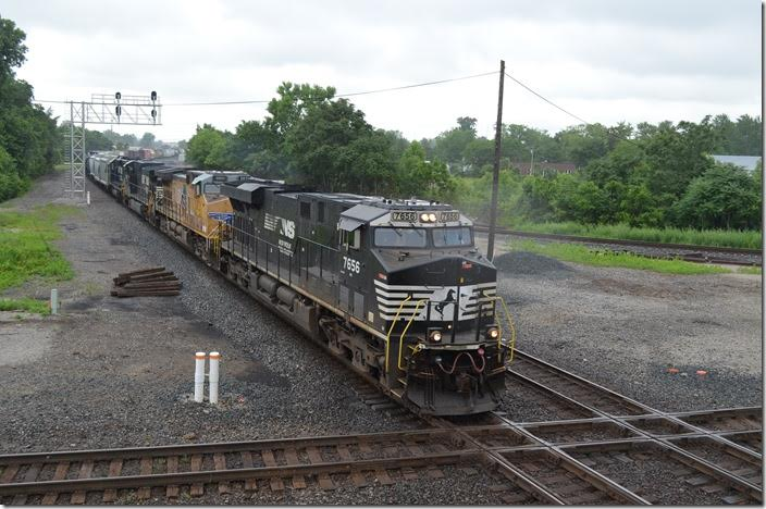 NS 7656-UP 5821-9945-3333 on e/b 169-19 (Conway to Birmingham) with 26 loads and 23 empties. I wonder if this train didn't use the Chicago, Fort Wayne & Eastern between Crestline and Bucyrus. This would be the former PRR main line that CSX owns. CFE is part of Genesee & Wyoming Inc. Marion OH.