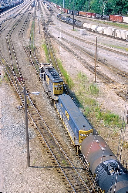 CSX yard slug 1054 and SD40-2 hump engine 2414.