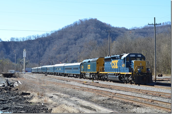 "The Santa Train was dead-headed north to Shelby on Thursday, Nov. 19th, 2015. I took these images on Friday, the 20th, 2015. It is parked on the ""Thoroughfare Track"" at Shelby. CSX 8033-9998 Shelby."