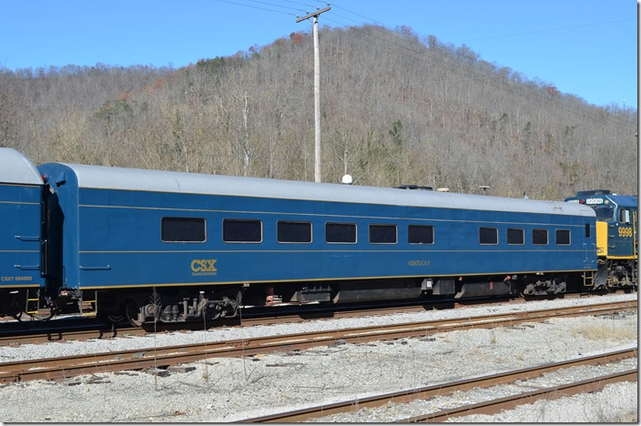 "CSX business car 994363 ""Kentucky."" The info I dug up says this is a power/stateroom originally built by Pullman for GN in '46 and later went to the L&N."