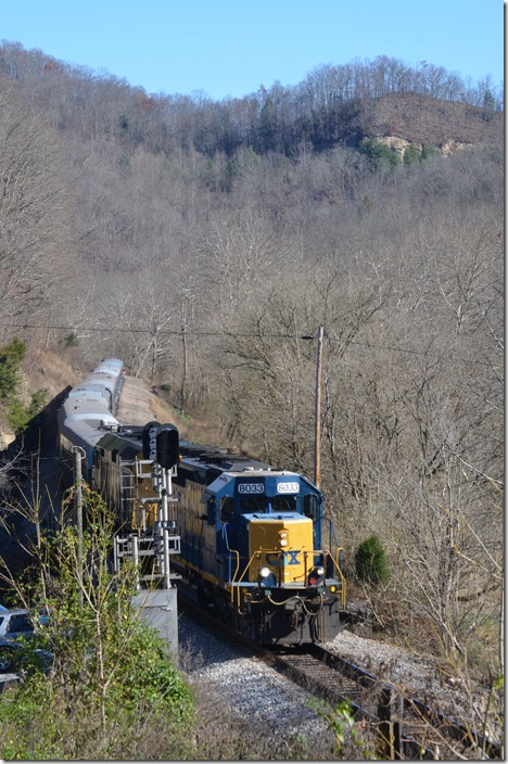 After a stop at St. Paul, the Santa Train is rolling along the Clinch River at Carfax VA. CSX Santa Train Carfax.