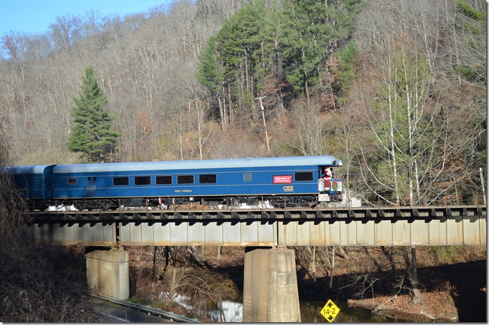 CSX Santa Train leaving Clinchco VA.  View 2.