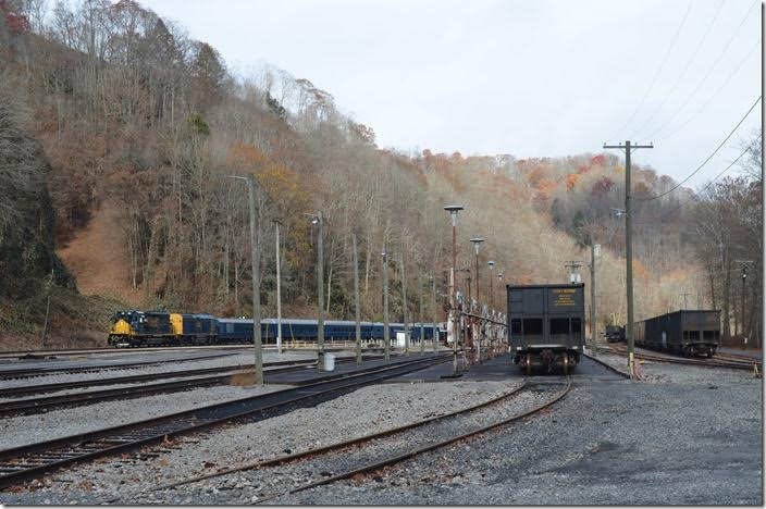 Passing Dante Yard and the inactive engine terminal. The yard is now a repository for stored coal cars. CSX 4384-9999. Dante yard VA.