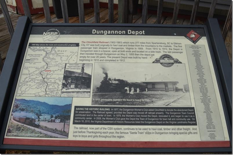 CSX depot. Dungannon VA. Commemorative Plaque .