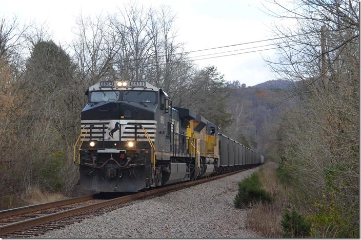 NS 8953-UP 8850 on 68V (Pounding Mill quarry at St. Clair to Catawba NC) with 59 loads of scrubber limestone for the power plant there. MP 62.87 at Wood VA.