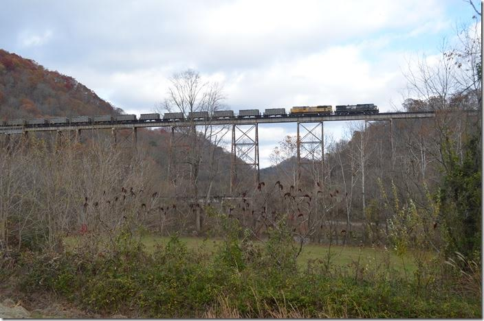 NS 68V crossing Copper Creek Trestle. This train will get on the former Southern Ry. at Frisco and continue its trip to Bulls Gap TN, the end of the run from Carbo VA. NS 8953-UP 8850. Copper VA.